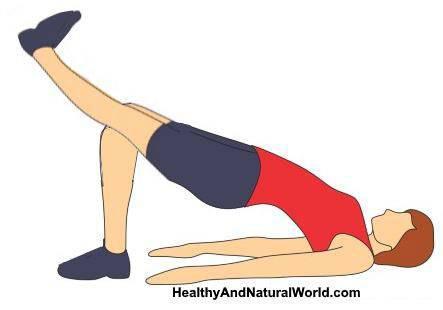 تمرين الاستلقاء مع رفع أحد الساقينButt bridge exercise