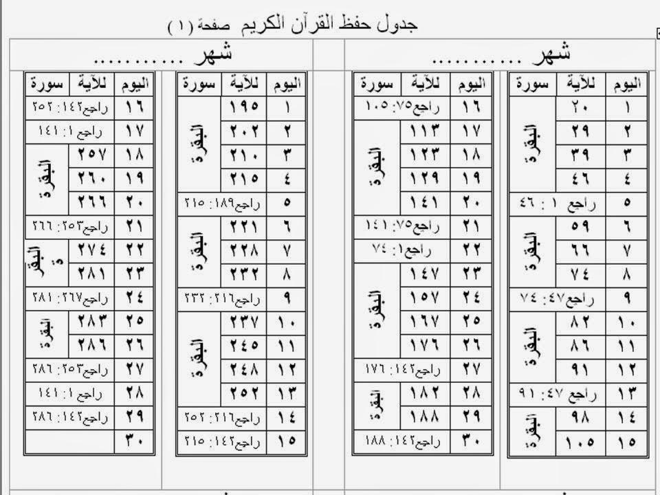 جدول لحفظ القرآن ومراجعته